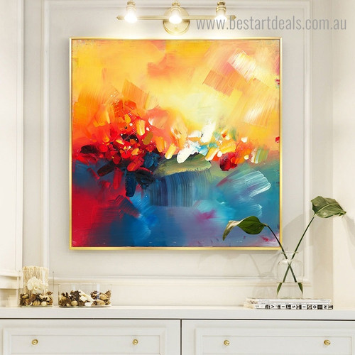 Red and Blue Abstract Impressionist Watercolor Framed Effigy Picture Canvas Print for Room Wall Tracery