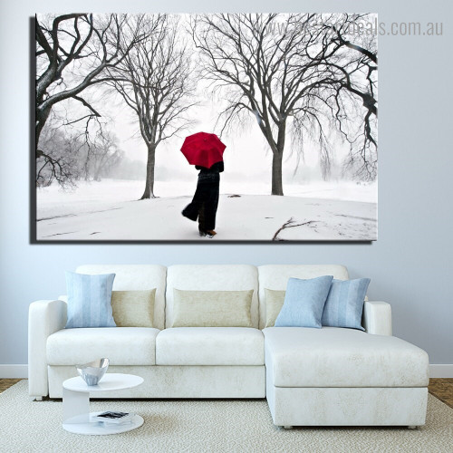 Winter Weather Landscape Nature Framed Artwork Picture Canvas Print for Room Wall Ornament