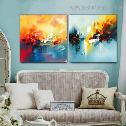 Orange Green Abstract Impressionist Watercolor Framed Artwork Portrait Canvas Print for Room Wall Onlay
