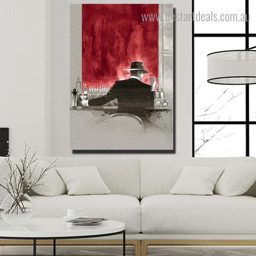 Man at Bar Abstract Modern Framed Painting Photograph Canvas Print for Room Wall Assortment