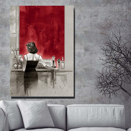 Woman at Bar Abstract Modern Framed Painting Image Canvas Print for Room Wall Ornament