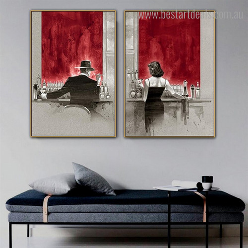 Male and Female Abstract Modern Framed Painting Portrait Canvas Print for Room Wall Adornment