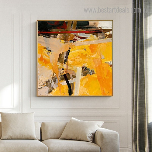 Colorful Blemish Abstract Impressionist Modern Framed Painting Picture Canvas Print for Room Wall Decoration