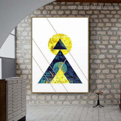 Round and Triangles Abstract Geometric Nordic Framed Painting Photo Canvas Print for Room Wall Flourish