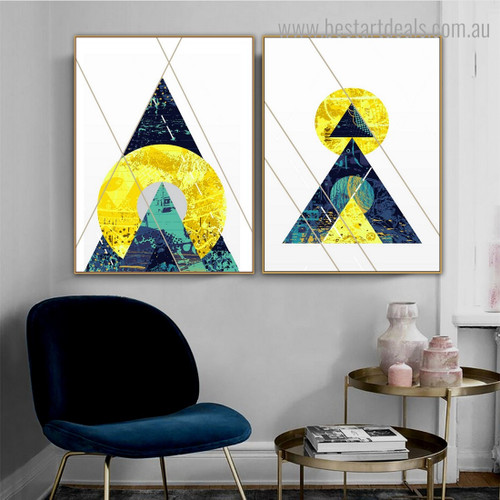 Outright Lines Abstract Geometric Nordic Framed Painting Image Canvas Print for Room Wall Assortment