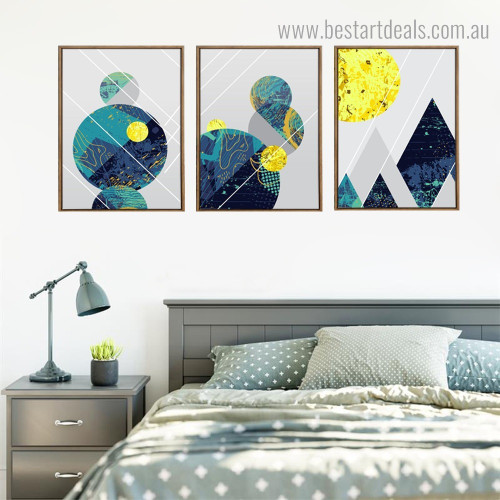 Sphere and Triangles Abstract Geometric Nordic Framed Artwork Image Canvas Print for Room Wall Decoration