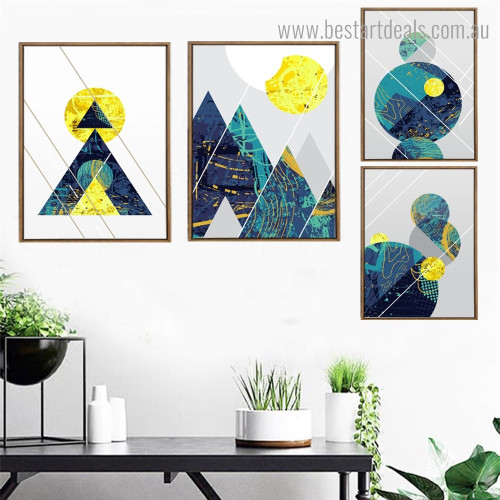 Triangulum and Circles Abstract Geometric Nordic Framed Artwork Picture Canvas Print for Room Wall Ornament