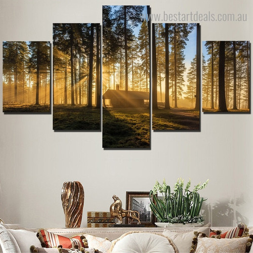 Dusk Landscape Nature Framed Effigy Picture Canvas Print for Room Wall Tracery