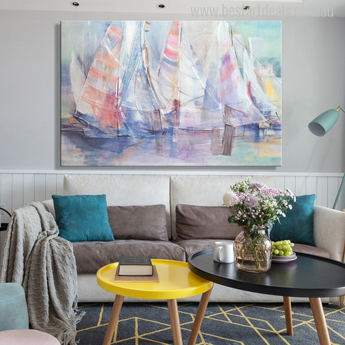 Abstract Colorful Sailboat Painting Canvas Print