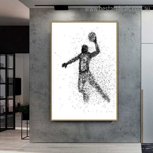 Basketball Player Abstract Illustration Modern Framed Painting Picture Canvas Print for Room Wall Decoration