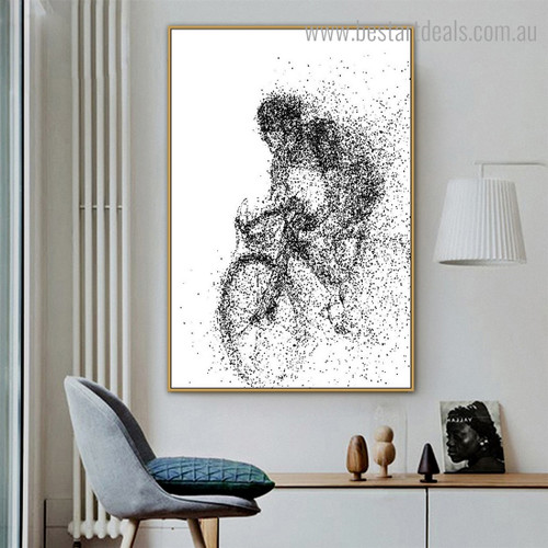 Cycling Man Abstract Illustration Modern Framed Artwork Portrait Canvas Print for Room Wall Ornament