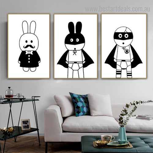 Superhero Rabbit Abstract Kids Nordic Framed Painting Image Canvas Print for Room Wall Decor