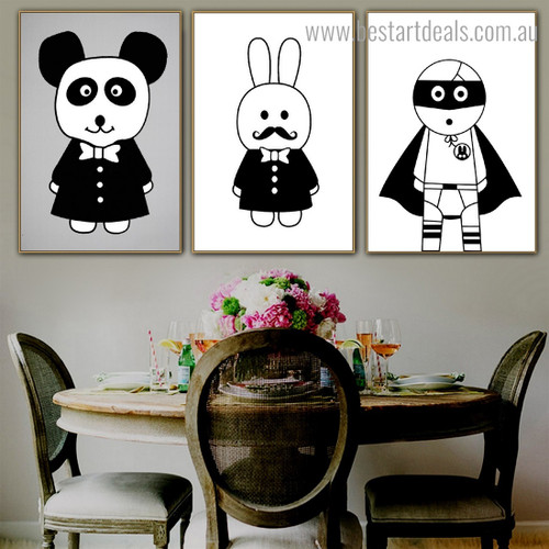 Cony Panda Abstract Kids Nordic Framed Painting Photo Canvas Print for Room Wall Adornment