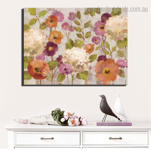 Chromatic Poppies Abstract Floral Modern Framed Painting Portrait Canvas Print for Room Wall Decoration
