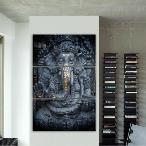 Ganpati Religious Vintage Framed Painting Photo Canvas Print for Room Wall Assortment