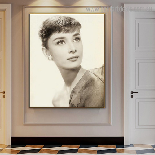 Audrey Hepburn Figure Hollywood Vintage Framed Effigy Photo Canvas Print for Room Wall Decor