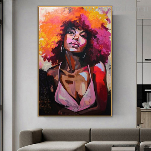 Afro Woman Abstract Figure Graffiti Framed Smudge Portrait Canvas Print for Room Wall Moulding