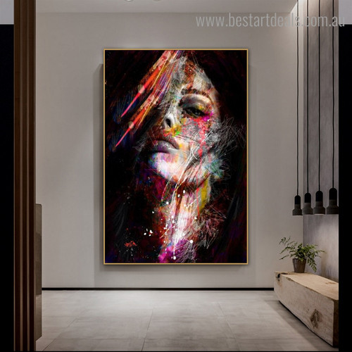 Motley Wench Abstract Figure Graffiti Framed Smudge Image Canvas Print for Room Wall Assortment