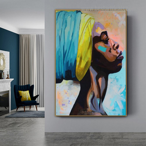 African Damsel Abstract Figure Graffiti Framed Smudge Image Canvas Print for Room Wall Tracery