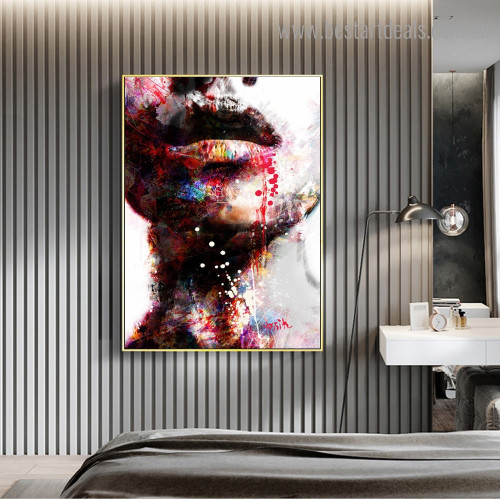 Colorful Half Face Abstract Figure Graffiti Framed Smudge Portrait Canvas Print for Room Wall Tracery