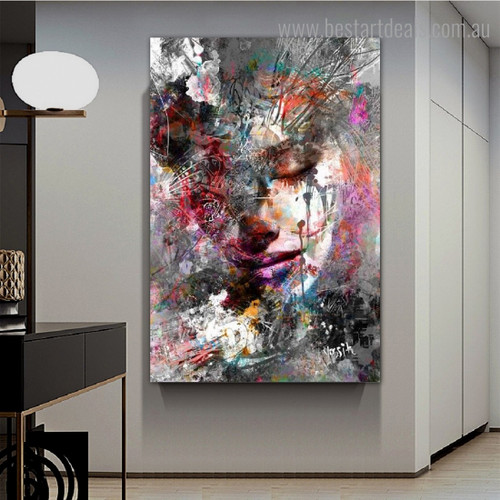 Lady Orifice Abstract Figure Graffiti Framed Smudge Pic Canvas Print for Room Wall Ornament