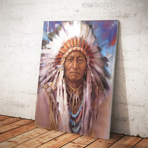 Native Indian Feathered Portrait Painting Print for Wall Decor