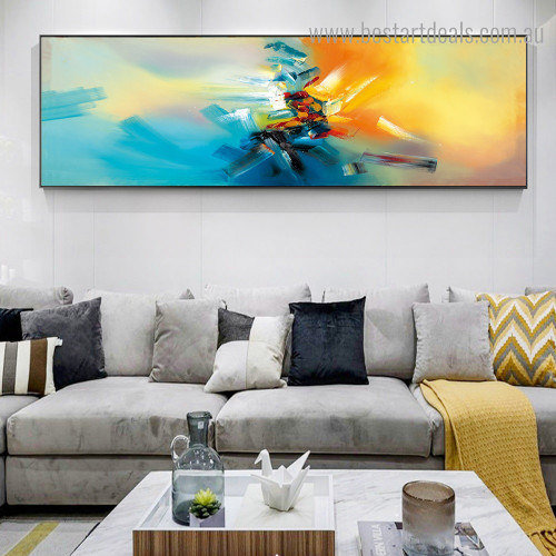 Black Blue Abstract Modern Framed Artwork Image Canvas Print for Room Wall Decor