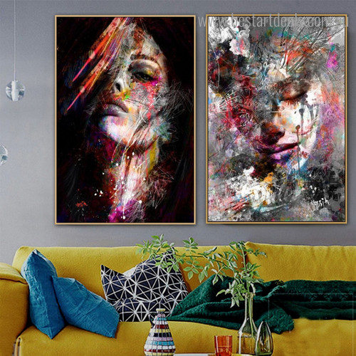 Colorful Distaffs Abstract Figure Graffiti Framed Smudge Pic Canvas Print for Room Wall Assortment