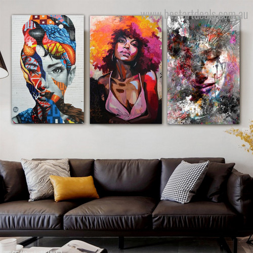 Multicolour Donas Abstract Figure Graffiti Framed Smudge Pic Canvas Print for Room Wall Assortment