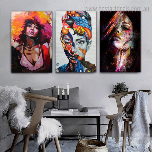 Varicoloured Females Abstract Figure Graffiti Framed Smudge Picture Canvas Print for Room Wall Ornament
