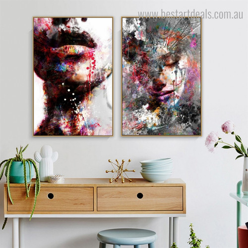 Chromatic Women Abstract Figure Graffiti Framed Smudge Photo Canvas Print for Room Wall Tracery
