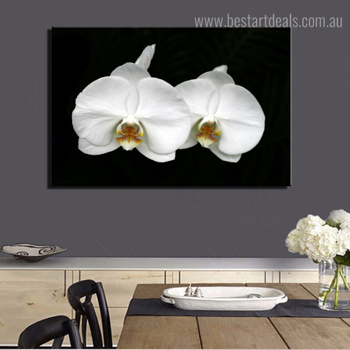 Moon Orchid Floral Modern Framed Artwork Image Canvas Print for Room Wall Disposition