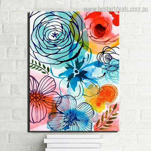 Motley Florets Abstract Floral Watercolor Framed Painting Portrait Canvas Print for Room Wall Adornment
