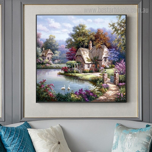 The Swan Cottage Landscape Nature Framed Painting Portrait Canvas Print for Room Wall Decor