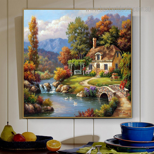 Cottage Stream Landscape Nature Framed Painting Pic Canvas Print for Room Wall Garnish