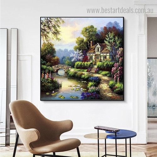 Swan Cottage II Landscape Nature Framed Painting Photo Canvas Print for Room Wall Finery