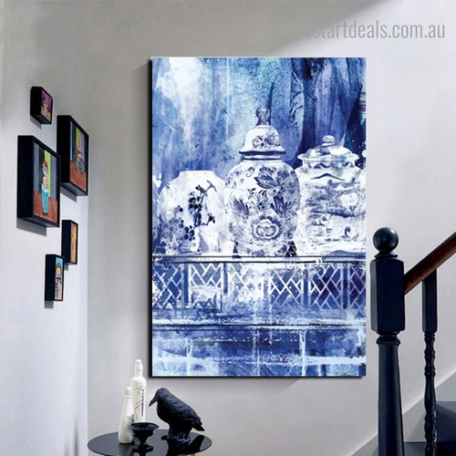 Chinese Classical Vase Abstract Framed Artwork Image Canvas Print for Room Wall Getup