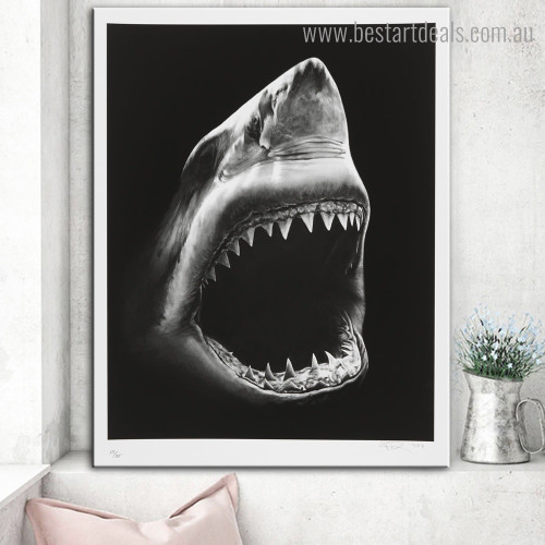 Shark Animal Modern Framed Artwork Image Canvas Print for Room Wall Finery