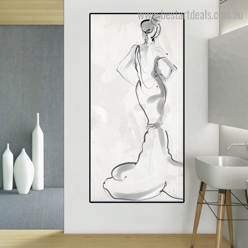 Woman Backside Abstract Figure Nordic Framed Smudge Photo Canvas Print for Room Wall Decoration