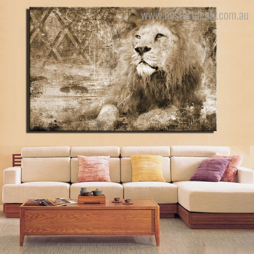 Feral Lion Abstract Animal Framed Artwork Image Canvas Print for Room Wall Decor