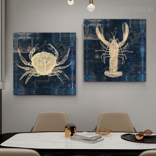 Lobster and Crab Abstract Animal Modern Framed Artwork Picture Canvas Print for Room Wall Disposition