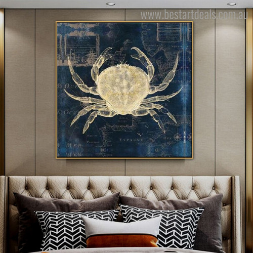 Crabs Map Abstract Animal Modern Framed Artwork Portrait Canvas Print For Room Wall Moulding