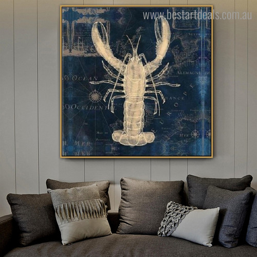 Lobster Abstract Animal Map Modern Framed Artwork Image Canvas Print for Room Wall Moulding