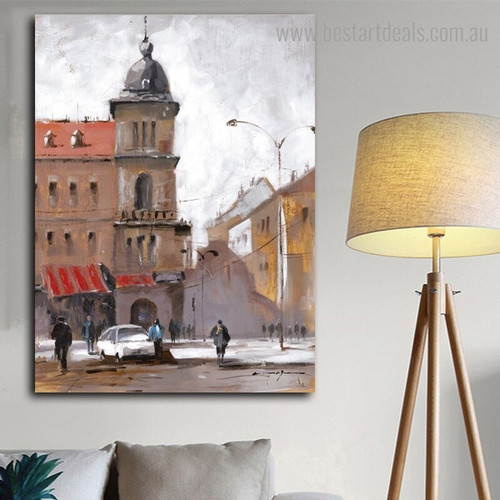 Paris Street Abstract Cityscape Modern Framed Painting Photo Canvas Print for Room Wall Decoration