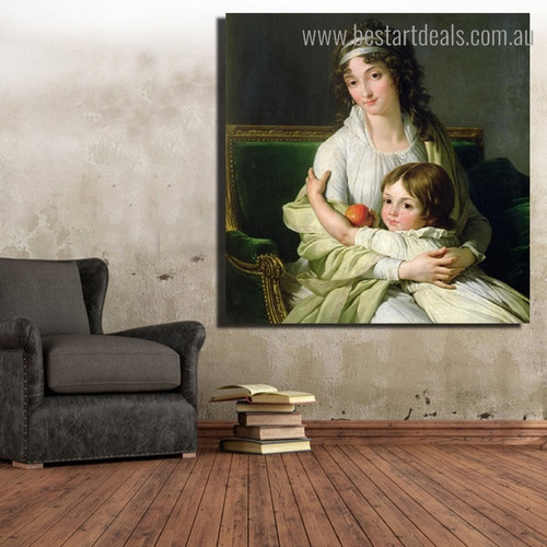 French School Figure Reproduction Framed Painting Pic Canvas Print for Room Wall Garniture