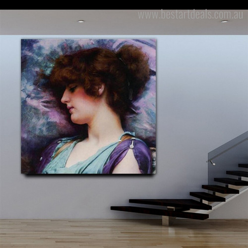 Far Thoughts Figure Reproduction Vintage Framed Painting Portrait Canvas Print for Room Wall Assortment