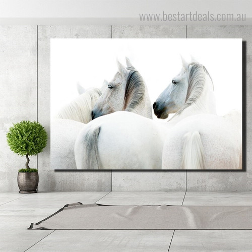 White Steeds Animal Modern Framed Smudge Portrait Canvas Print for Room Wall Adornment