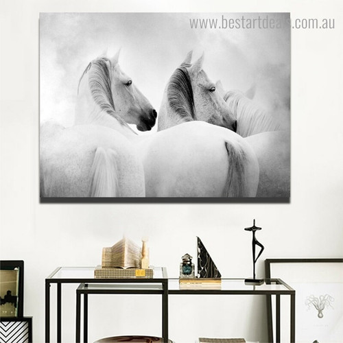 White Equines Animal Modern Framed Smudge Portrait Canvas Print for Room Wall Onlay