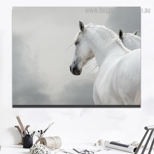 Two White Horses Animal Modern Framed Smudge Image Canvas Print for Room Wall Tracery
