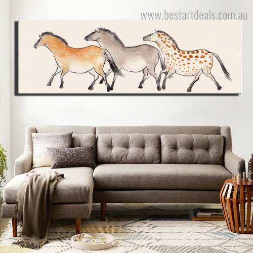 Colorific Equines Abstract Animal Modern Framed Effigy Picture Canvas Pint for Room Wall Adornment